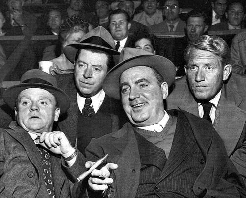 "The self named ""Irish Mafia;"" (L- R) James Cagney, Frank Laughton, O'Brien & Spencer Tracy Riff-Raff"